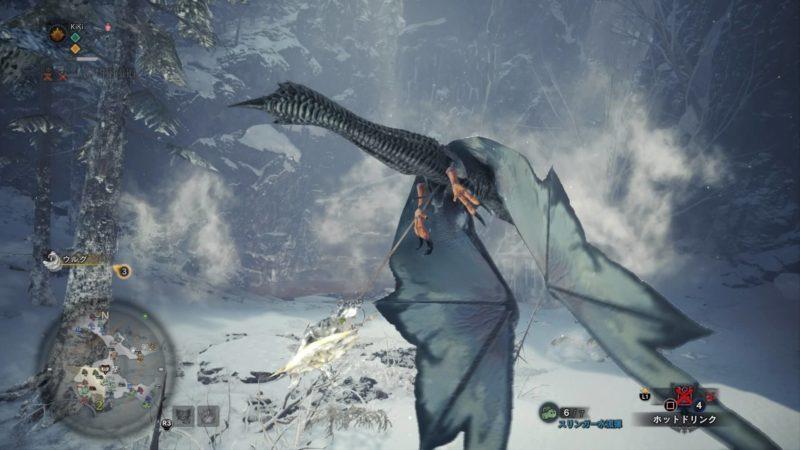 エリア2の翼竜に掴まっている画像です。