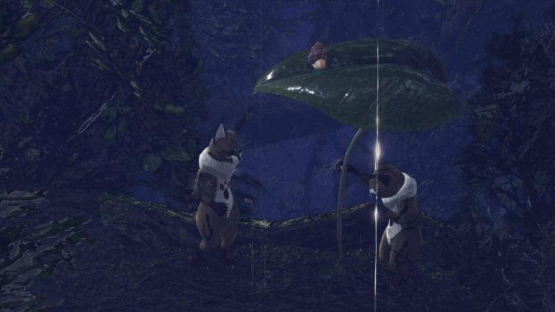 傘を差し出すテトルーの画像です。