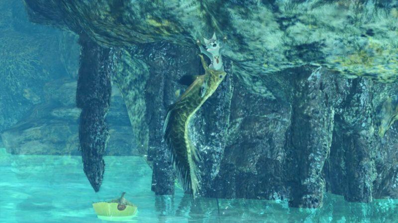黄金魚に食べられるテトルーの画像です。